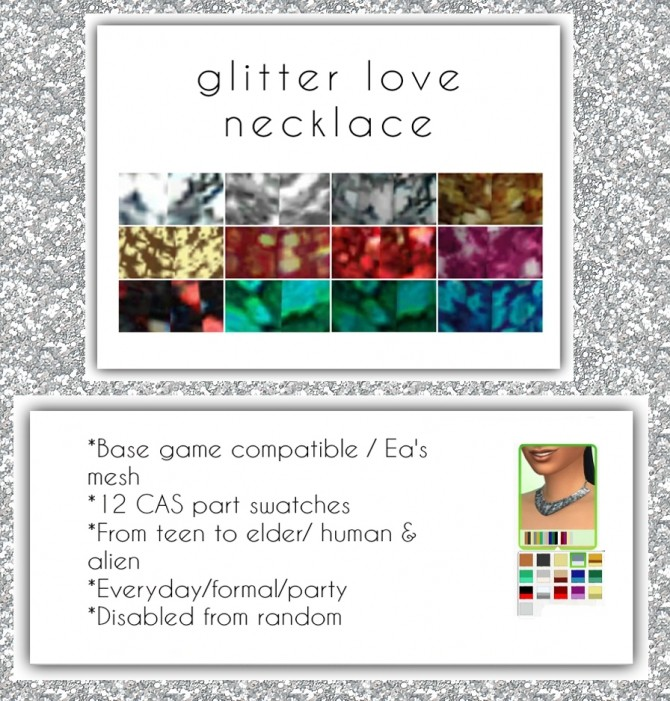 Sims 4 Glitter Love Necklace at Maimouth Sims4