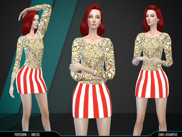 Sims 4 Popcorn Dress by SIms4Krampus at TSR