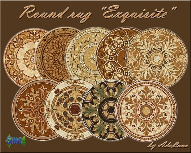 Sims 4 Exquisite Round rug by AdeLanaSP at Mod The Sims