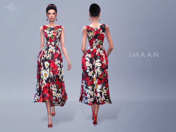 Sims 4 Poppy Print Dress by starlord at TSR