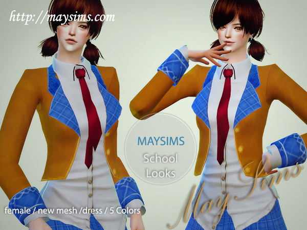 Sims 4 School Look Clothes (Lv Release) at May Sims