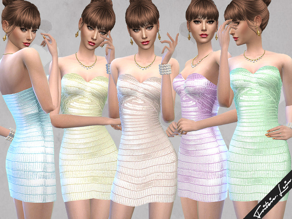 Sims 4 Shimmering Bandage Dress by Fritzie.Lein at TSR