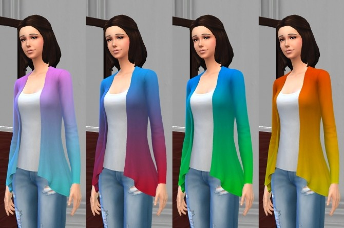 Sims 4 Draped Cardigan Top in Basic & Ombre Colors by VentusMatt at Mod The Sims