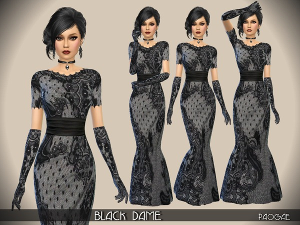 BlackDame dress by Paogae at TSR image 7619 Sims 4 Updates