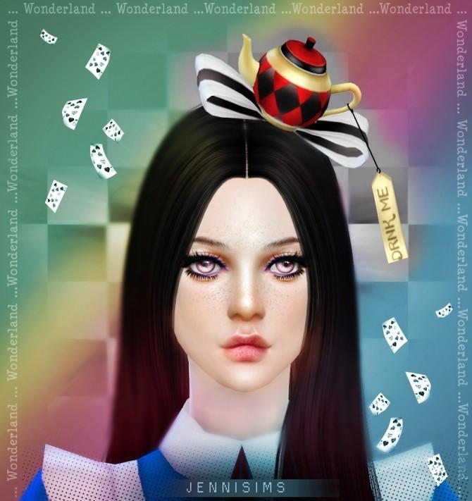 Sims 4 Hat Tea Bow Drink Me (Alicia wonderland) at Jenni Sims