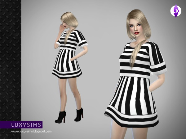 Striped Short Dress by LuxySims3 at TSR image 827 Sims 4 Updates