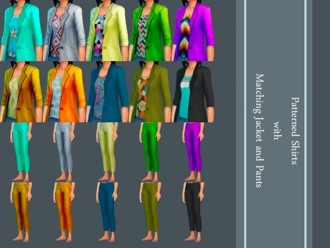 Patterned Shirt with Matching Jacket and Pants by Weeaboo at Mod The Sims image 828 670x503 Sims 4 Updates