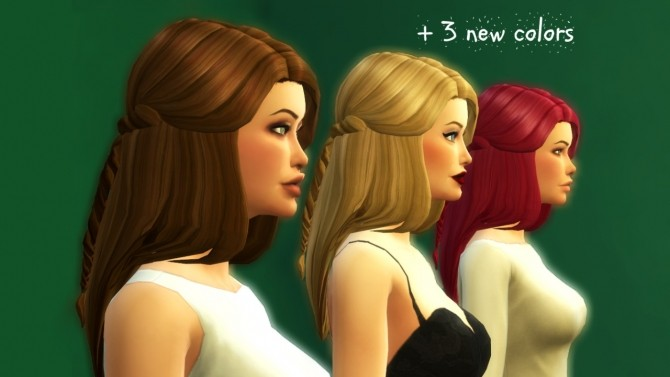 Sims 4 Long hair with a braid at Wildspit