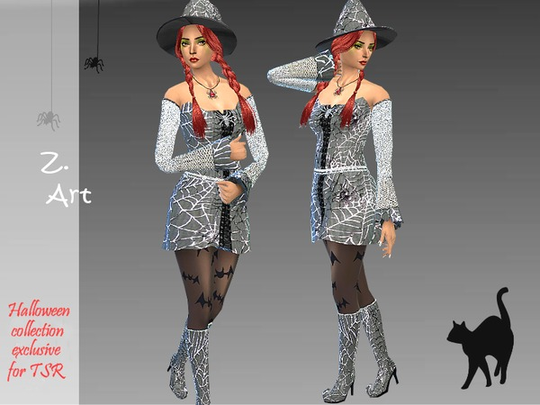 Cobweb Halloween set: costume, boots and hat by Zuckerschnute20 at TSR image 9105 Sims 4 Updates