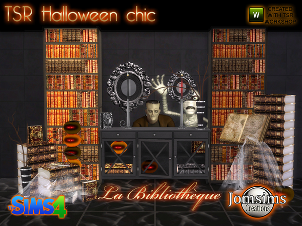 tsr halloween chic set la bibliotheque by jomsims at tsr. Black Bedroom Furniture Sets. Home Design Ideas