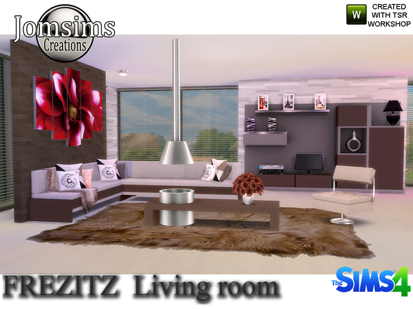 Sims 4 Frezizt Modern Living Room by jomsims at TSR