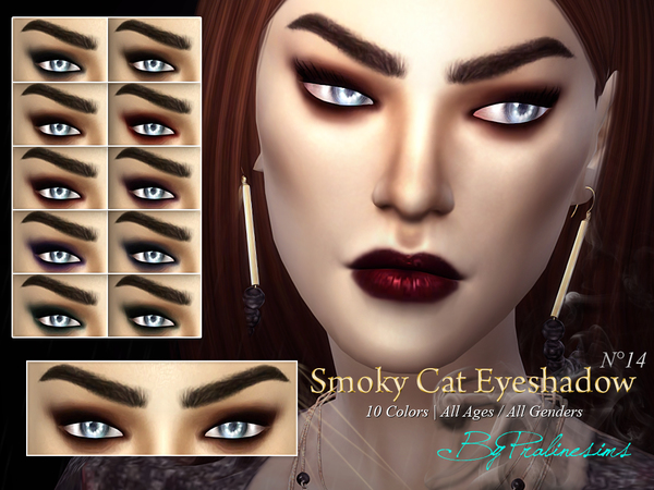Smoky Cat Eyeshadow N14 by Pralinesims at TSR image 924 Sims 4 Updates