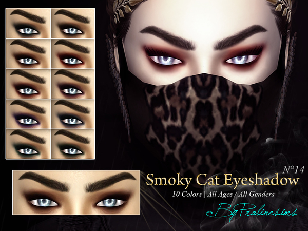 Smoky Cat Eyeshadow N14 by Pralinesims at TSR image 934 Sims 4 Updates