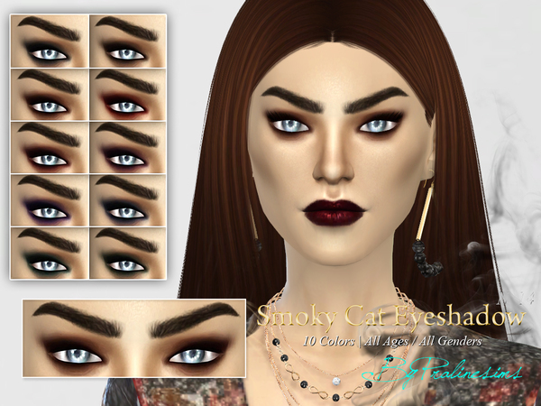 Sims 4 Smoky Cat Eyeshadow N14 by Pralinesims at TSR