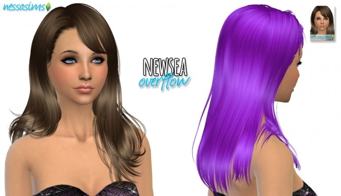 Sims 4 Newsea Overflow hair retexture at Nessa Sims