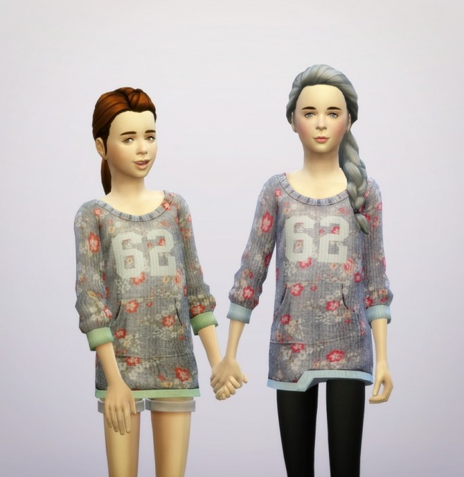 Sims 4 Floral sweater for kids at Rusty Nail
