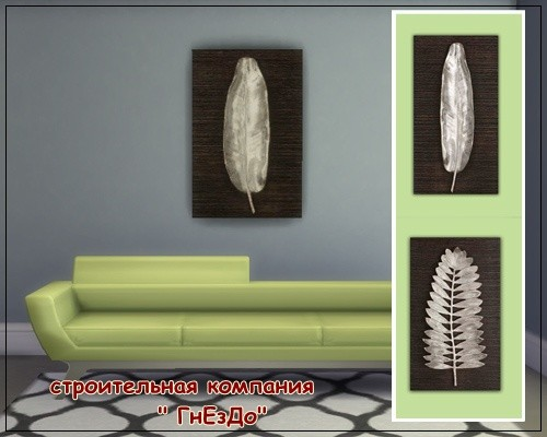 Sims 4 Silver Leaves 01 paintings at Sims by Mulena