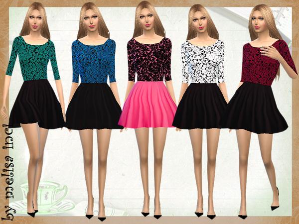 Sims 4 Color Block Lace Dress by melisa inci at TSR