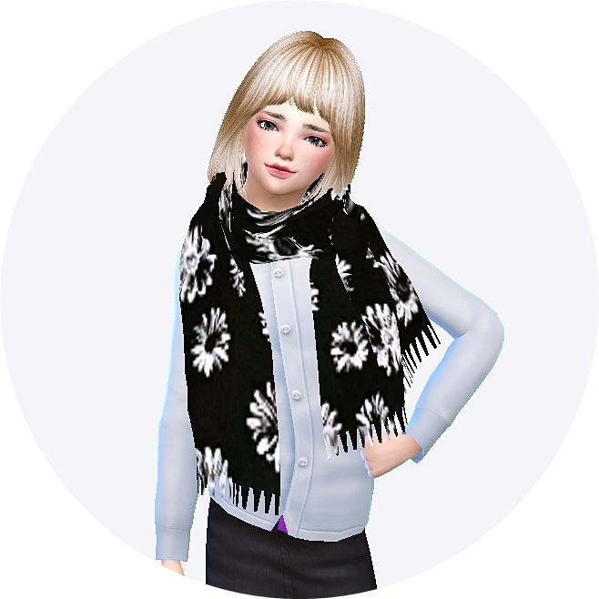 Sims 4 Child fringe muffler (scarf) at Marigold