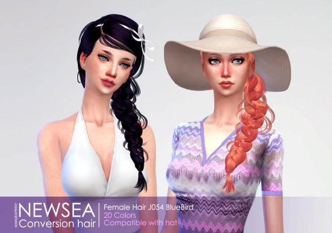 Sims 4 Newseas Female hair J054 'BlueBird' converted at manuea Pinny
