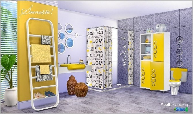 Youth flooding bathroom at simcredible designs 4 sims 4 for Bathroom ideas sims 3