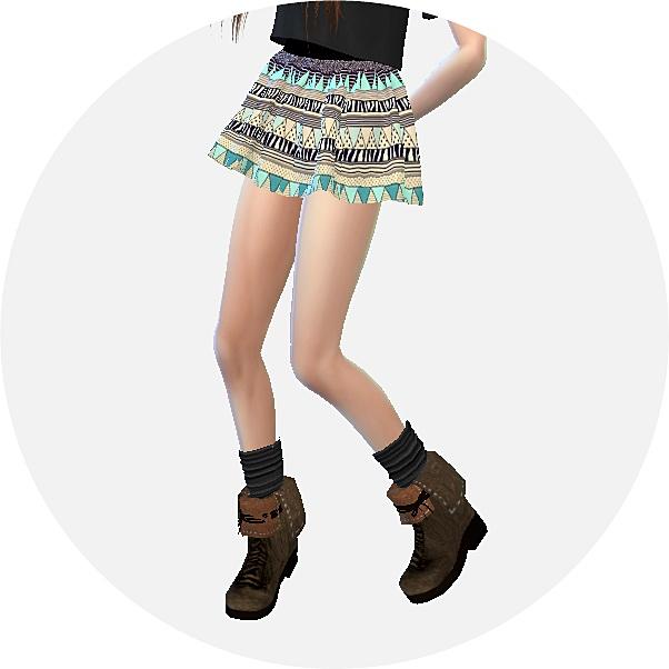 Pattern flare mini skirt v1 various at Marigold image 1108 Sims 4 Updates