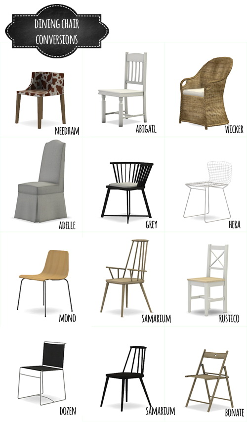 Sims 4 DINING CHAIR CONVERSIONS at MIO