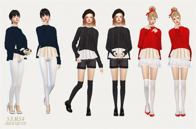 Side vent sweater with flare shirt at Marigold image 12017 670x443 Sims 4 Updates