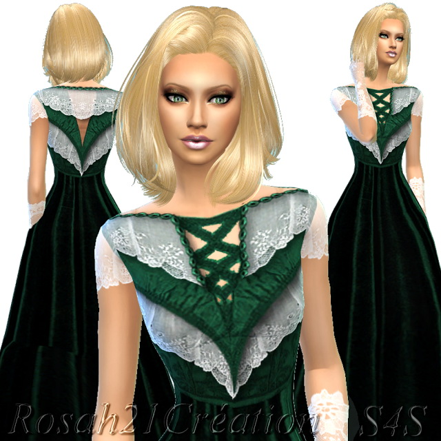 Velvet and lace old dress at Sims Dentelle image 12118 Sims 4 Updates