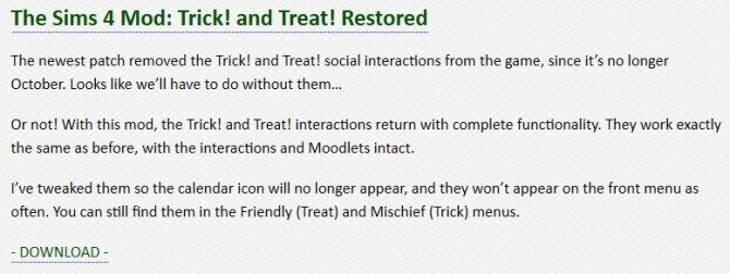 Sims 4 The Sims 4 Mod: Trick! and Treat! Restored at Zerbu