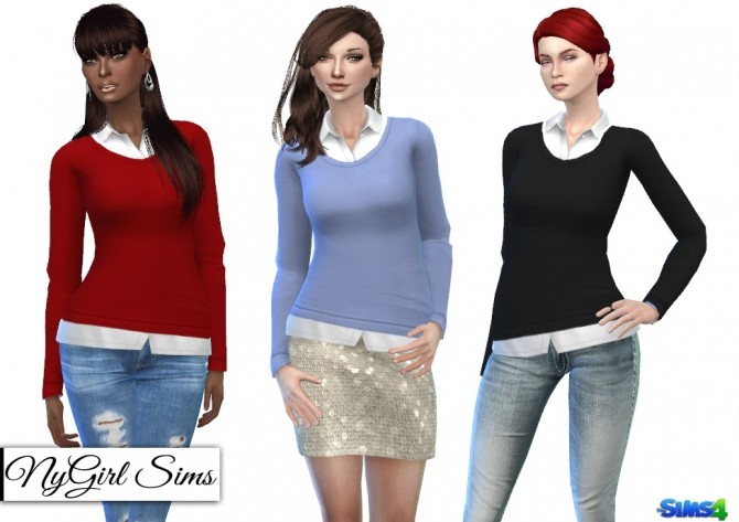 Sweater with White Button Up at NyGirl Sims