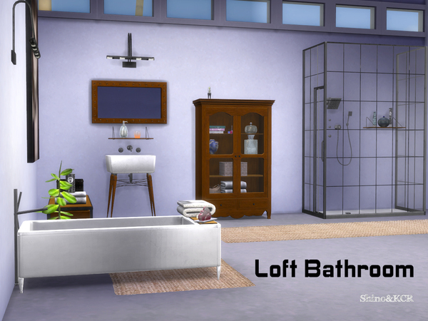 Loft bathroom by shinokcr at tsr sims 4 updates for Bathroom ideas sims 4