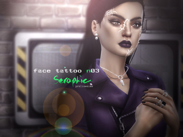Sims 4 Seraphic Tribal Face Tattoo N03 by Pralinesims at TSR