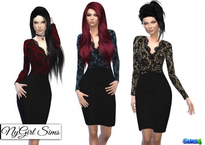Sims 4 V Neck Lace Pencil Dress at NyGirl Sims