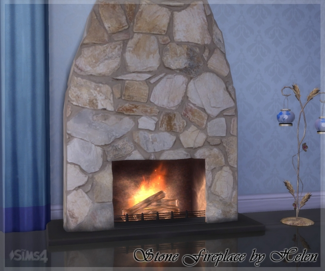 Stone Fireplace at Helen Sims » Sims 4 Updates