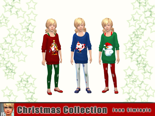 Sims 4 Christmas Sweater dresses and tights by Jenn Simtopia at TSR