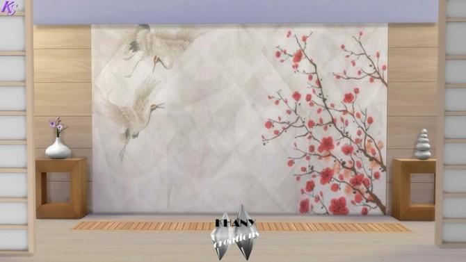 Sims 4 Japanese crane walls at Khany Sims