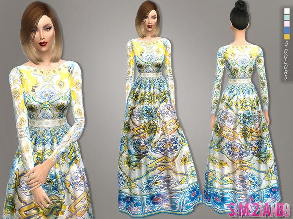 Sims 4 110 Long designer dress by sims2fanbg at TSR
