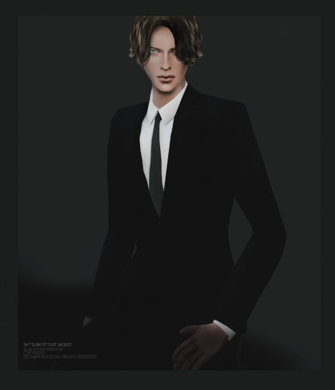 Slim Fit Suit Jacket at Black le image 1549 670x780 Sims 4 Updates