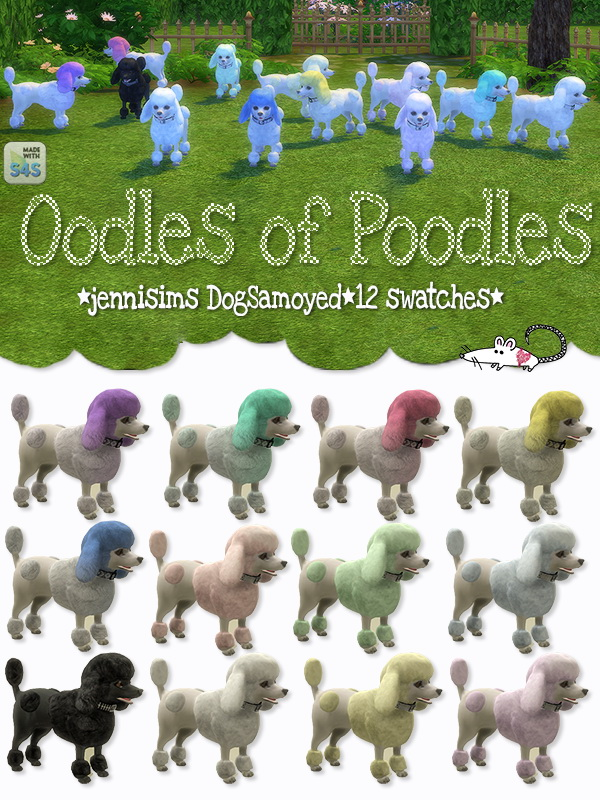 Sims 4 Poodles with Jenni Sims DogSamoyed in 12 swatches at Loverat Sims4