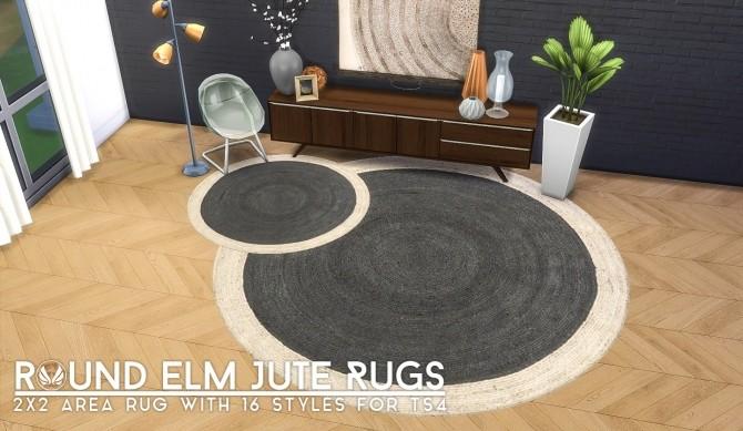Sims 4 Round Elm Jute Rugs at Simsational Designs