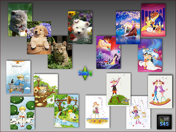 Sims 4 4 sets with paintings for kids at Arte Della Vita
