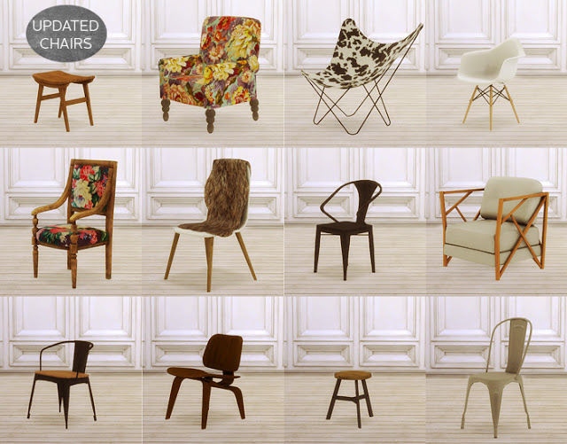 Sims 4 Updated chairs at MIO