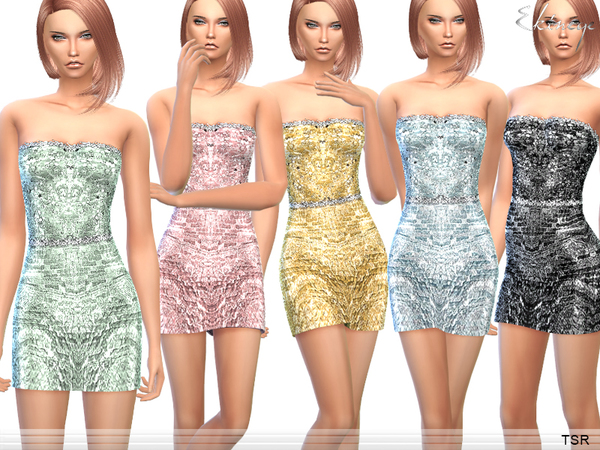 Sims 4 Strapless Sequin Mini Dress by ekinege at TSR