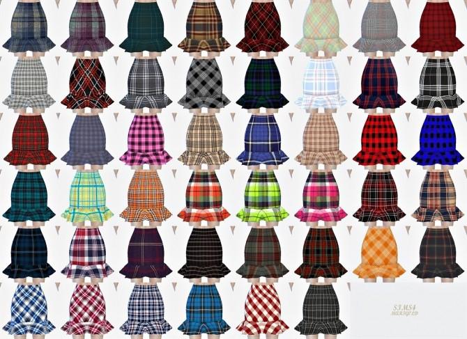 Sims 4 Mermaid line mini skirt checked at Marigold