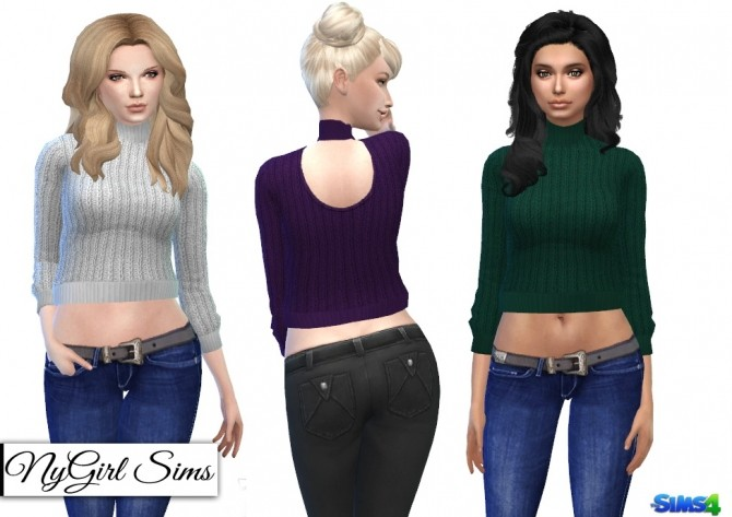 Sims 4 Knitted Crop Sweaters at NyGirl Sims