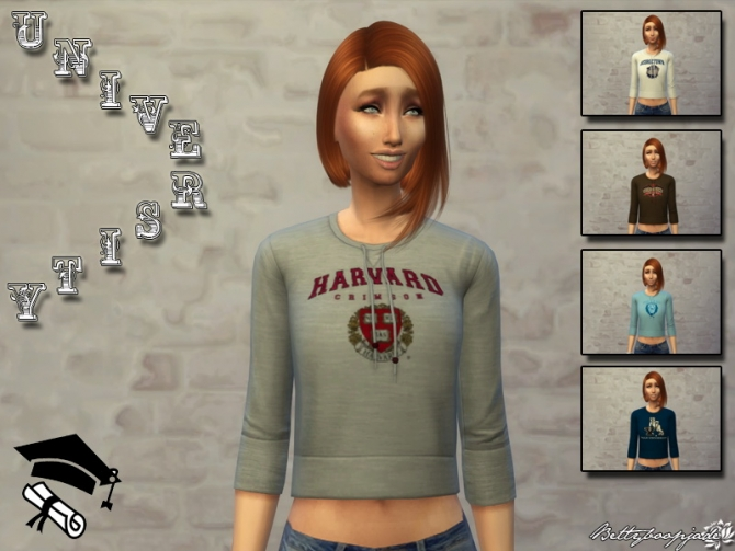 University Tops By Bettyboopjade At Sims Artists 187 Sims 4