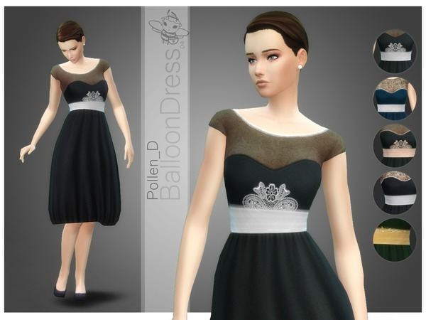 Sims 4 Balloon Style Dress 04 by Pollen D at TSR