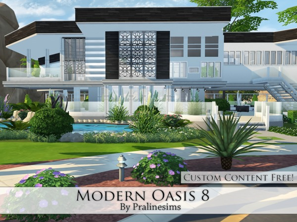 Modern Oasis 8 house by Pralinesims at TSR image 2125 Sims 4 Updates