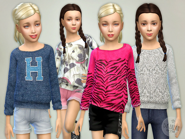 Sims 4 Printed Sweatshirt for Girls P08 by lillka at TSR